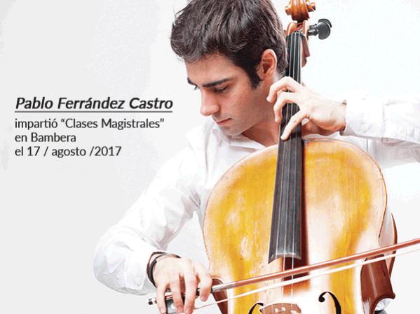El joven violonchelista internacional Pablo Ferrández ha impartido masterclass a jóvenes músicos en agosto de 2017 en Bambera
