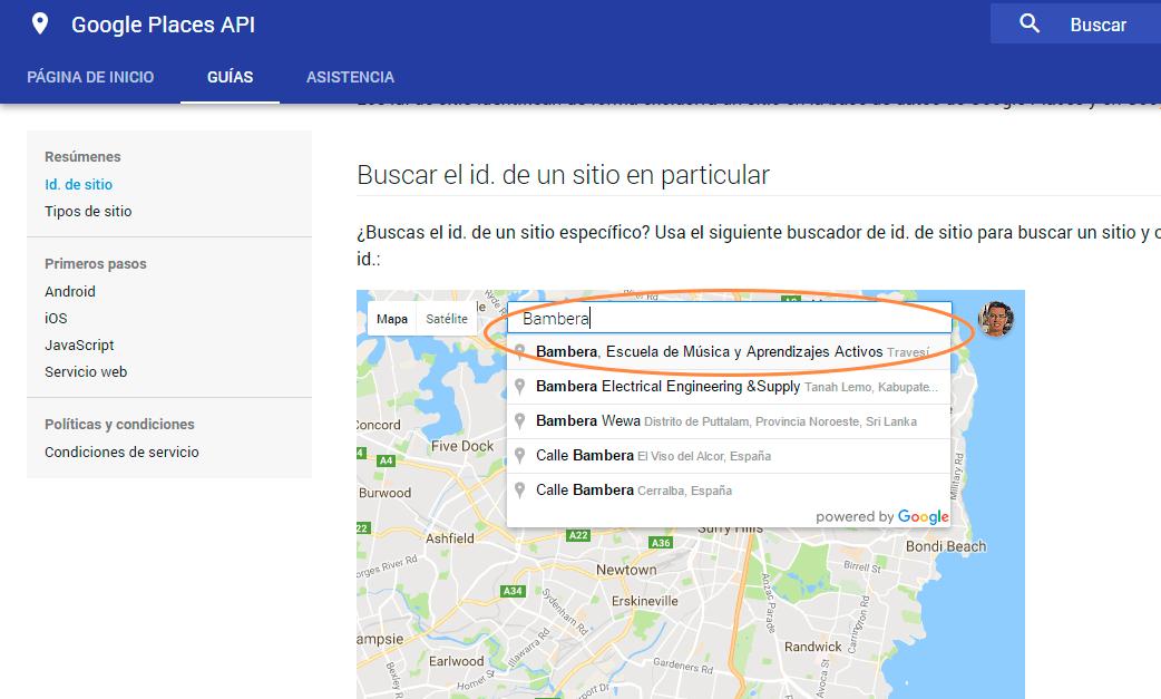 Página para conocer el Id de nuestro establecimiento en Google